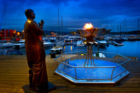 Oslo - Statue of Sri Chinmoy and the Eternal Peace Flame